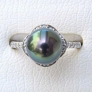 タヒチ黒蝶真珠 リング ダイヤモンド パール ピーコックグリーン系 9mm PT900 プラチナ 指輪