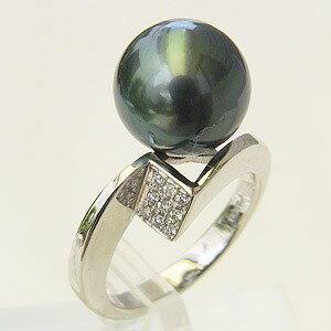 プラチナ パール タヒチ黒蝶真珠リング パール PT900 真珠