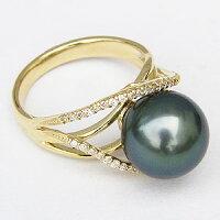 ブラックパールリング黒真珠指輪ダイヤモンド0.22ctK18ゴールドパールリングタヒチ黒蝶真珠11mm【RCP】