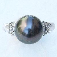 真珠パール:リング:タヒチ黒蝶真珠:10mm:指輪:リング:K18WG:ホワイトゴールド:ダイヤモンド