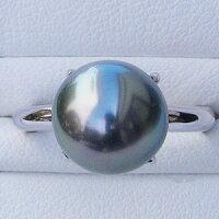 黒真珠:ブラックパール:指輪:タヒチ黒蝶真珠:10mm:リング