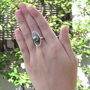 真珠 パール リング タヒチ黒蝶真珠 11mm PT900 プラチナ 真珠 パール 指輪 リング
