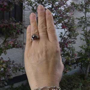 真珠パール リング タヒチ黒蝶真珠 K18WG ホワイトゴールド ダイヤモンド 6石 0.33ct 真珠の径 10mm グリーン系 6月誕生石 指輪