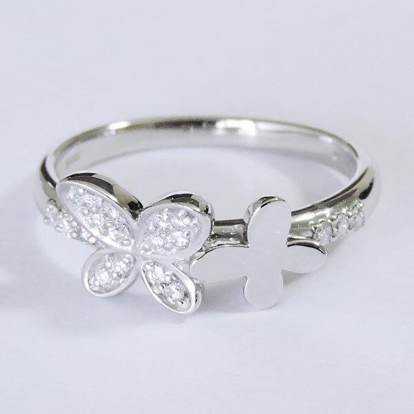 ダイヤモンド リング K18ホワイトゴールド クリア 0.15ct フラワーモチーフ 花 蝶々 四つ葉 可愛い レディース ダイヤ プレゼント 贈答 ジュエリー 保証書付