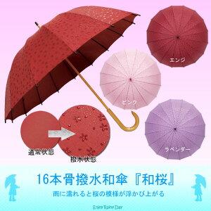 値下げしました!!雨に濡れると桜の模様が浮かび上がる!【蛇の目 へび 桜 雨傘】【 P25Apr15 ...