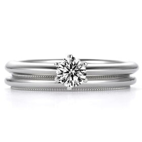 一粒ダイヤモンド婚約指輪とミルグレイン(ミル打ち)結婚指輪の組み合わせ