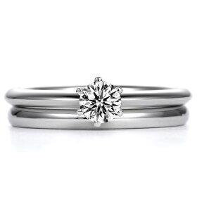 一粒ダイヤモンド婚約指輪とスタンダード(甲丸)結婚指輪の組み合わせ