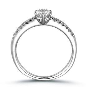 サイドストーン・エンゲージリング(結婚指輪)縦