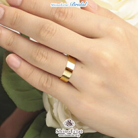 K18YG(鍛造・イエローゴールド)フラット・マリッジリング6mm/結婚指輪/人気/通販/ランキング(着用)
