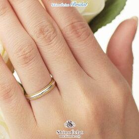 結婚指輪・リング・Pt950&K18YGミルグレイン・マリッジリング3mm/コンビネーション/人気/ランキング/通販(着用)