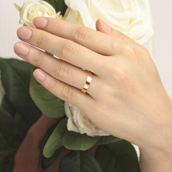 K18rose Gold Wedding Band Flat 4mm Tyakuyou
