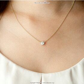 K18/0.5ct/ハートアンドキューピット/一粒ダイヤモンドネックレス/通販/クリスマスプレゼント/【着用アップ】