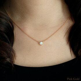 k18ダイヤモンドネックレス0.3ctグランベゼルピンクゴールド着用