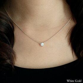 k18ダイヤモンドネックレス0.3ctグランベゼルホワイトゴールド着用