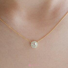 K18ローズカットネックレス/rosecutnecklace/diamond/首飾り/ダイヤモンド/結婚記念日/クリスマスプレゼント/着用アップ