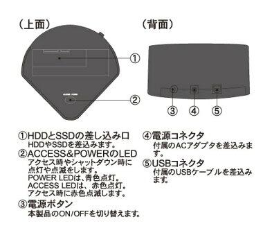 大容量ハードディスク6TB対応2.5/3.5インチSATA両対応クレードルスタンドUSB3.0MAL-4935SBKU3