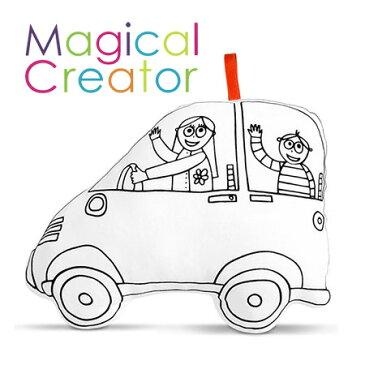 【ヒロコーポレーション】Magical Creatorマジカルクリエーター・クッション(くるま)キッズ/ぬいぐるみ/人形/プレゼント/誕生日/男の子/女の子/知育玩具/ぬりえ