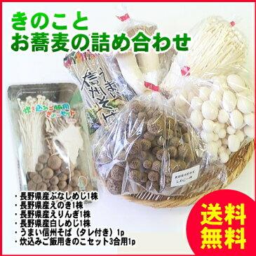 【送料無料】きのことお蕎麦の詰め合わせ!長野県産きのこと信州そば、炊き込みセットもつきます!