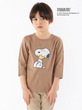 SHIPS KIDS:スヌーピー 7分袖 TEE(100~130cm) SHIPS KIDS シップス カットソー キッズカットソー ブラウン ブルー【送料無料】[Rakuten Fashion]