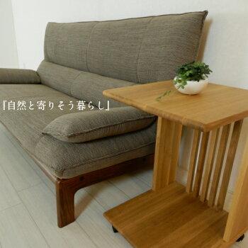 サイドワゴンキャスター付オーク材サイドテーブル天然木コの字型