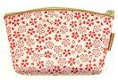 福岡県伝統工芸品博多織ポーチ大桜柄赤ピンク色