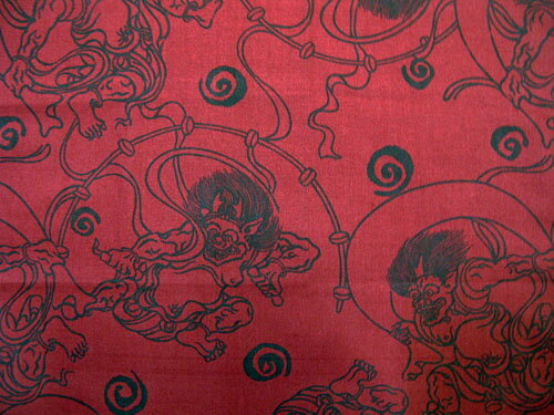日本製和風布物(綿チーフ)小風呂敷油取り男和柄はんかち(ハンカチ)赤色風神雷神(ふうじん・らいじん))