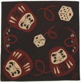 日本製 和風布物(綿チーフ)開運亭 小風呂敷 和柄はんかち縁起物  開運 福だるまハンカチ