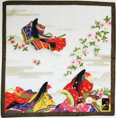 日本のお土産海外おみやげ日本はんかち ハンカチ平安王朝 十二単衣 白色