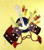 和風インテリア押絵色紙(しきし)兜と矢