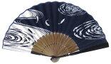 日本の伝統扇子(センス・せんす)紳士・女性・両用扇子手拭(手ぬぐい)プリント魚・流水
