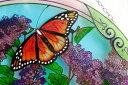 【即納可!!】再入荷しました♪アートパネル  Φ38cm 蝶とアジサイ サンキャッチャー アートグラス ハンドペイント 2