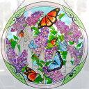 【即納可!!】再入荷しました♪アートパネル  Φ38cm 蝶とアジサイ サンキャッチャー アートグラス ハンドペイント 3