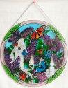【即納可!!】再入荷しました♪アートパネル  Φ38cm 蝶とアジサイ サンキャッチャー アートグラス ハンドペイント 1
