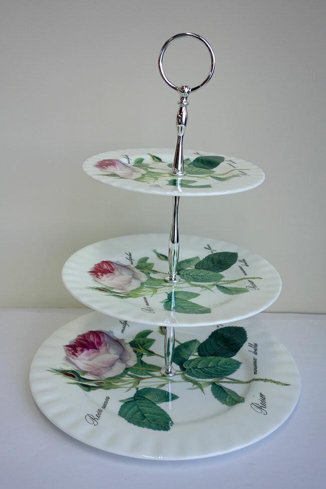 【即納可!!】新入荷しました♪イギリス製ROYKIRKHAMルドゥーテローズケーキスタンド3段バラ薔薇ケーキスタンドボーンチャイナ