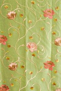 カーテンインド製刺繍薔薇柄「ミラノグリーン」巾101〜200cm×丈151〜210cm1.5倍ヒダ