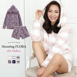 ブルーミングフローラ bloomingFLORA モコモコ ボーダー パーカー ショート セックス パステル