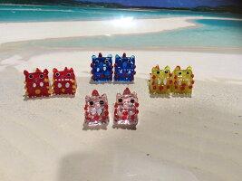 【ガラス・シーサー】ガラスのペアシーサー(4色)★土産・沖縄・国際通り・かわいい・置物・琉球ガラス・ピンク・カラフル・誕生日・結婚式の引き出物・贈り物・出産祝い・お返し・新築祝い・プレゼント・引っ越し祝い・彼氏・彼女・ちょっとしたプレゼントに…