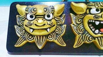 パワー面獅子★金色のシーサー壁掛け・金運・ペアシーサー・魔除け・金・ギフト・沖縄・土産・人気…