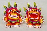 【シーサー・置物・玄関】米子焼・ガハハM2(2色)★引っ越し祝い・新築祝い・出産祝い・内祝い・置物・土産・赤・青・沖縄の魔除けペアシーサー・カラフルな色とユニークな表情が人気のシーサーです。