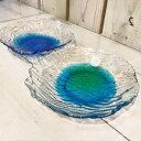 【沖縄 琉球ガラス】潮騒でこぼこ小皿(2色)★皿・沖縄・人気・グラス・土産・ギフト・内祝い・出産祝い・プレゼント・かわいい・新築祝い・ホワイトデー・彼女・母の日・お母さん・母・青・緑…