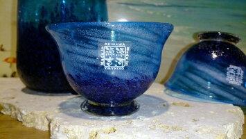 沖縄の琉球ガラス★コバルトとっくり&ぐいのみ(2個)の3点セット★MadeinOkinawa