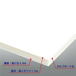 カルプボード白10t 両面貼り合せ 面材 塩ビ ホワイト2mm+白0.5mm 900X1800mm(サンロイドチャンネル ホワイト RM401D同等色) ●業務用