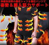 送料無料 背筋矯正 姿勢矯正 スパルタックス加圧メンズTシャツ&スパッツ 2点セット【上下セット】着圧補正下着&ハーフパンツ 筋トレ嫌いな方におすすめ