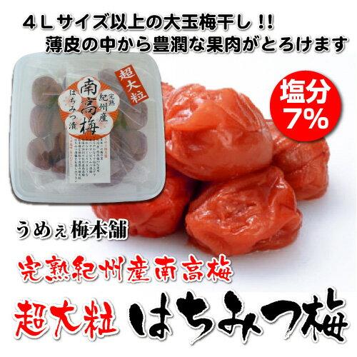 紀州完熟南高梅 超大粒 はちみつ漬梅干 480g入り 塩分7% うめぇ梅本舗 うめぼし 大玉