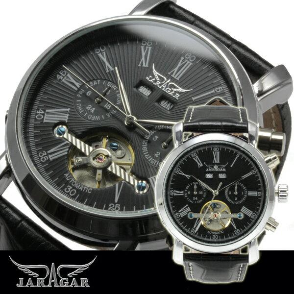 腕時計 メンズ 全針稼動の本格仕様 ビッグフェイス マルチカレンダー 自動巻き腕時計 保証書付
