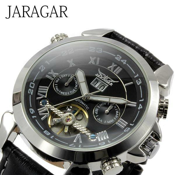 メンズ腕時計 【全針稼動の本格仕様】インナーベゼルビッグフェイス自動巻きクロノグラフ腕時計