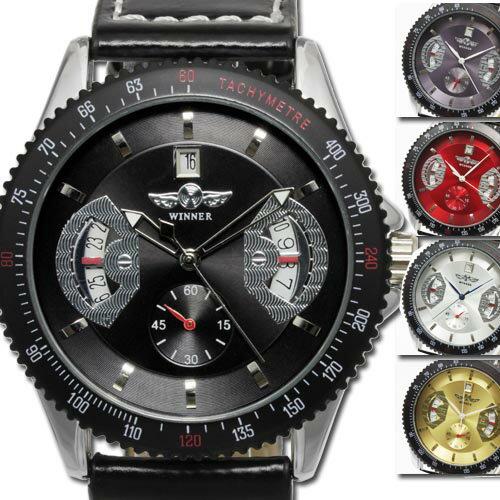 【今だけポイント20倍】メンズ腕時計 送料無料【カレンダー機能付き】自動巻きバックスケルトン腕時計