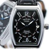 メンズ腕時計 送料無料 【機械式モデル】トノーケース・デイト自動巻き腕時計