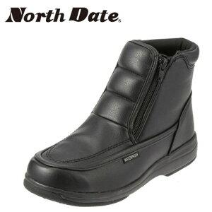 [ノースデイト] North Date 防水カジュアルブーツ MEG682 メンズ | スノーブーツ ショートブーツ | 防水 防寒 防滑 | 吸湿 発熱 幅広4E | 雪道 凍結路面 | ブラック10P30Nov14