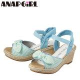 [アナップガール]ANAPGIRLANG-6520キッズジュニア|カジュアルサンダル|キッズサンダル子供靴|ウェッジソールリボンボーダーアンクルベルト|女の子女児|サックス